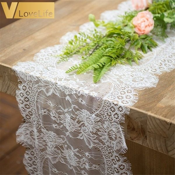White Embroidered Lace Tablecloth Floral Table Runner Doily Wedding Party Decor