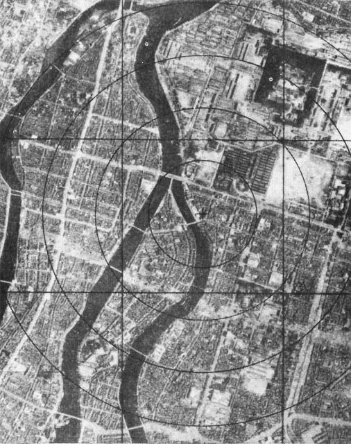 This is a photo before the bombing of Hiroshima. as you can tell, the city is very compact and dense with many citizens and building around the area of the target that was effected. This shows how developed the city was before what had happened and how many people it affected immediately on a wide scale, not including the damage done after by radiation.