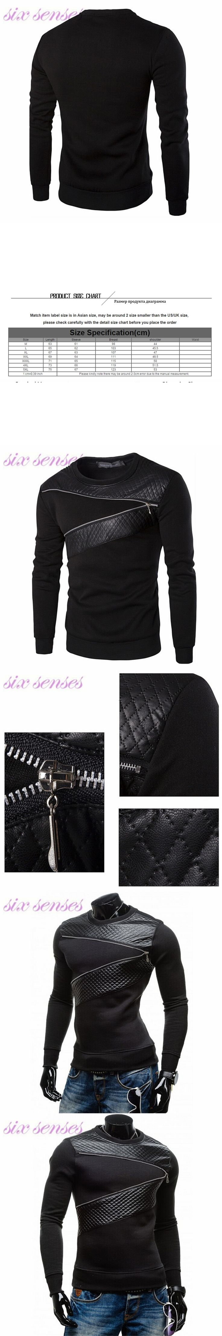 5XL European casual men hoodies new autumn fashion slim pullover patchwork leather zipper men sweatshirt plus size,WH0050