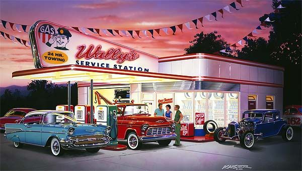 car paintings of the 50  60s | 50s service station, 1957 Chevrolete Convertible,…