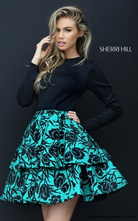 Long Sleeve Sherri Hill 50559 Black Emerald Homecoming Dress