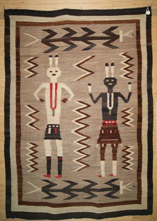 Historic Yeibichei Pictorial Navajo Rug C 1920 Weaver Unknown