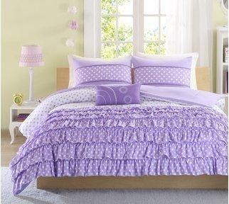 Mizone Girls 4Piece Comforter Set Purple Twin Girls Comforter Sets Twin Comforter Set Teens Gorgeous Purple Girls Bedding Sets Your Girl Will Adore Ruffled Bedding Set Her Room Includes Twin TwinTXL #BeddingIdeasForTeenGirls