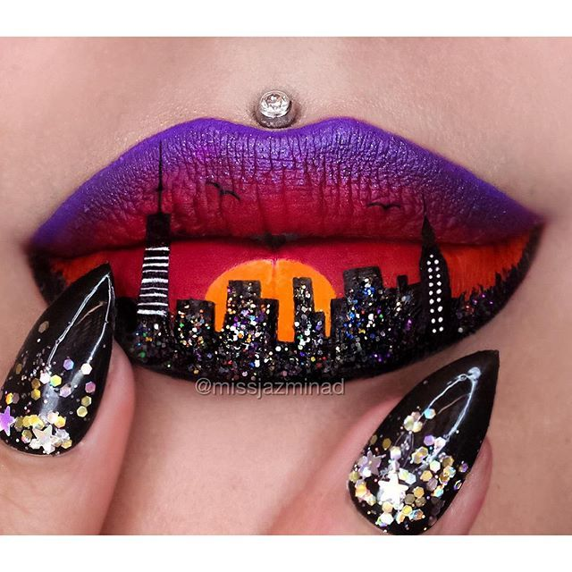 """Thank you for all the love on my NY inspired lip art  Details are in the previous post. Any lip art suggestions? Please comment below."" Photo taken by @missjazminad on Instagram, pinned via the InstaPin iOS App! http://www.instapinapp.com (12/03/2015)"
