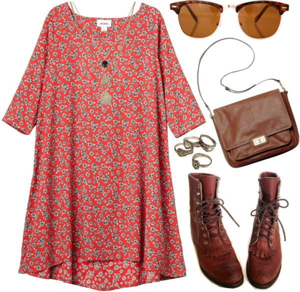 Tunic dress and boots- Add a belt to the dress and this would look so cute!: