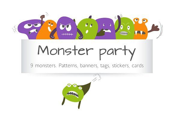 Monster party by Alla_Ri_Shop on @creativemarket