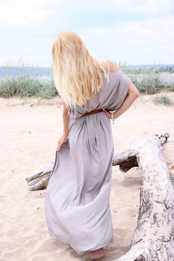 Silk Maxi Dress, Loose dress, Casual Summer Dress, Plus size dress, Tunic Coverup, Festival dress, Boho Chic Dress, Asymmetric dress #ad