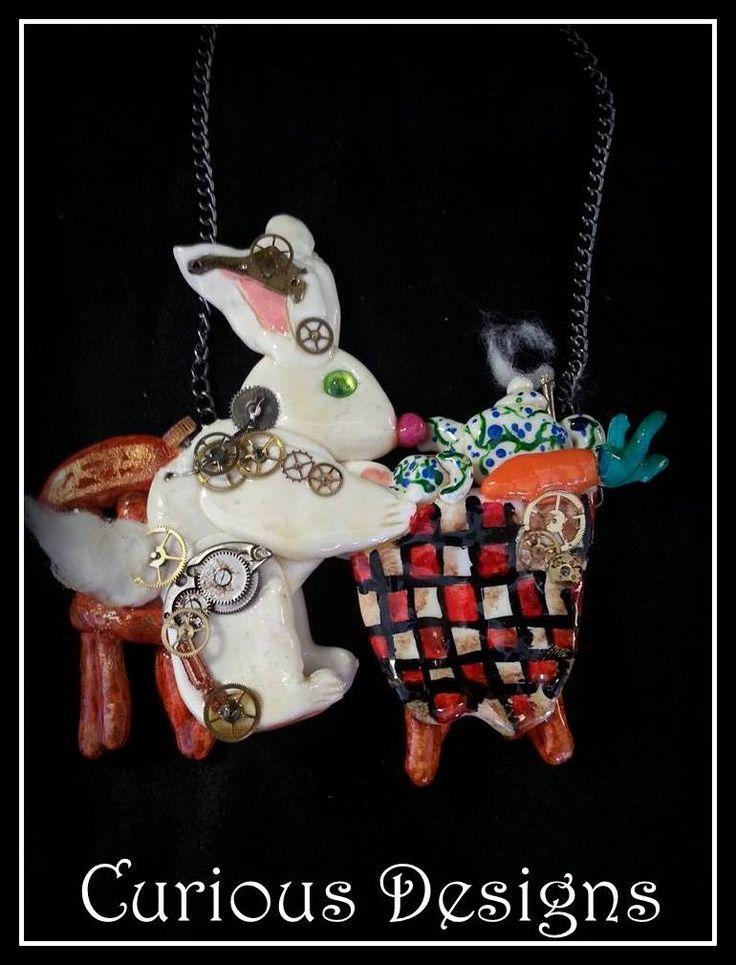 Story piece of jewellery Clockwork rabbits teaparty #steampunk #ladyopheliaravenlovelace #curiousdesigns #whiterabbit #aliceinwonderland  https://www.facebook.com/pages/Curious-Designs/353536071461624  http://ladyopheliaravenlovelace.blogspot.co.uk/2014/08/a-walk-in-woods-steampunk.html