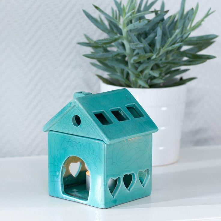 Podgrzewacz House Turquoise wys.14cm, 11x10x14cm - Dekoria #Candlesticks #swieczki #swieczniki #home #dom #decoration #inspiration #livingroom #dekoracje #interior