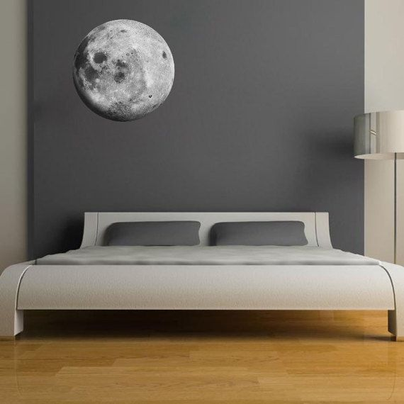 Moon Wall Decal Sricker Peel and Stick Moon Wall Art by PrimeDecal                                                                                                                                                                                 More