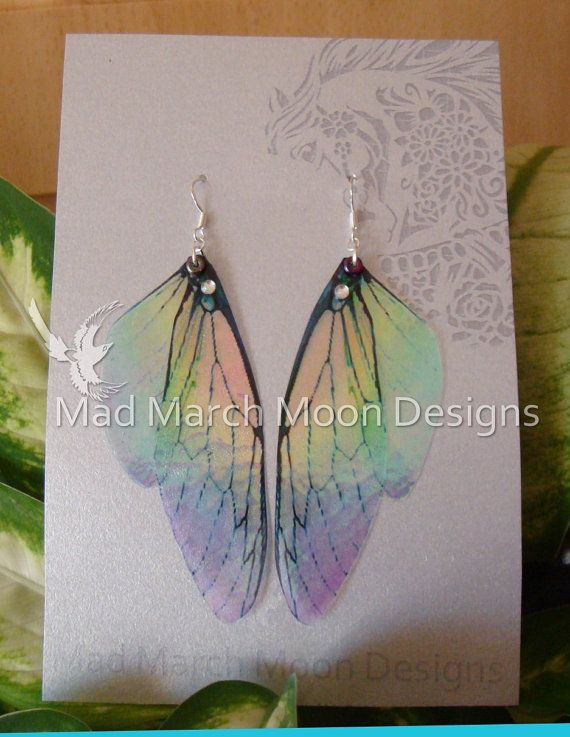 Rainbow Fairy wing earrings iridescent cicada by MadMarchMoon