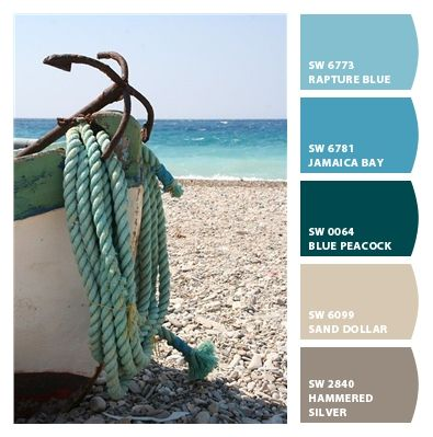 more seaside colors: blue from the water and boat, tan from the anchor and sand