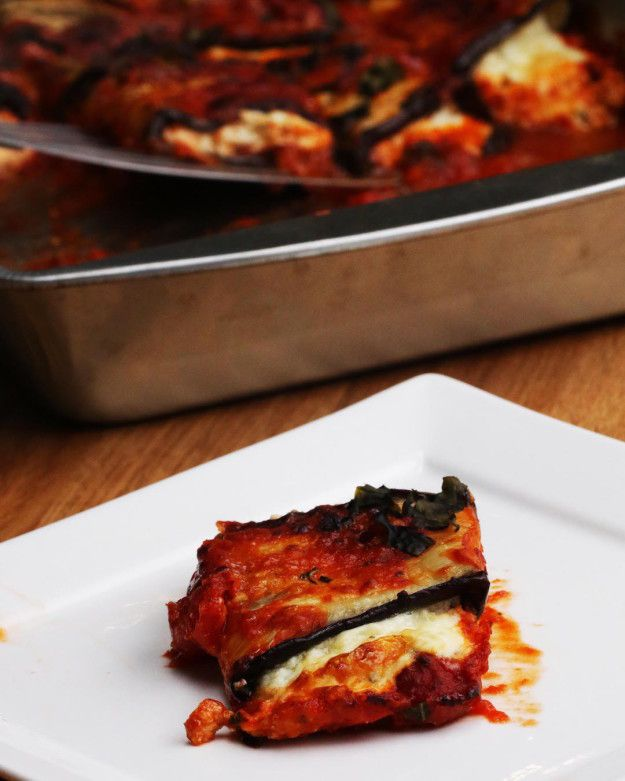 Cheesy Eggplant Roll-Ups   These Eggplant Roll-Ups Are So Cheesy And Great