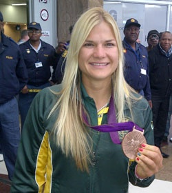 Bridgitte Hartley with bronze at 2012 London Olympics to become SA's first woman medallist since Hestrie Cloete in 2004.