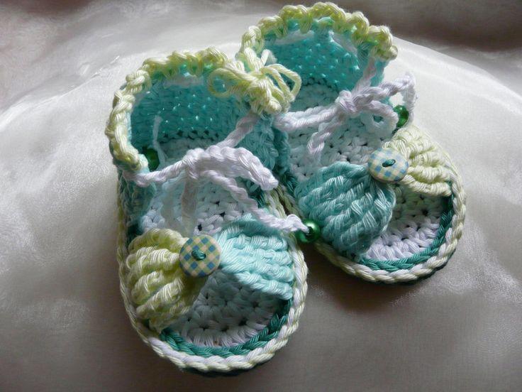 Gebreide & gehaakte schoenen - Zomerse Baby Sandaaltjes 0 - 6 maanden - Een uniek product van KnitsforKids op DaWanda