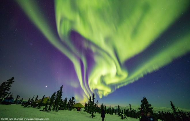 Astrophotographer John Chumack took this image from mountains about 60 miles east of Fairbanks, Alaska on March 19, 2015 while leading his annual aurora tour and workshop.