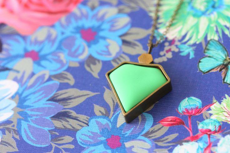 Apple Green Diamond Pendant www.cloudninecreative.co.nz
