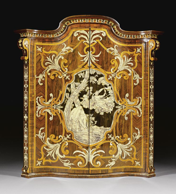 An Italian Mother Of Pearl, Engraved Ivory, Amaranth, Fruitwood Inlaid,  Kingwood Marquetry And Parquetry Wall Cabinet By Pietro Piffetti  Piedmontese Circa