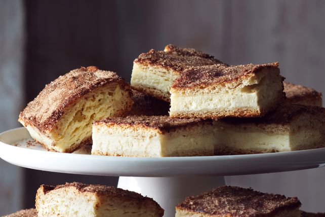 "This bar is somewhere between a cinnamon roll and churros. Tender dough, creamy cheesecake and sweet cinnamon sugar come together for a deliciously simple recipe. For more ideas, click <a href=""http://www.kraftrecipes.com/"">here</a>"