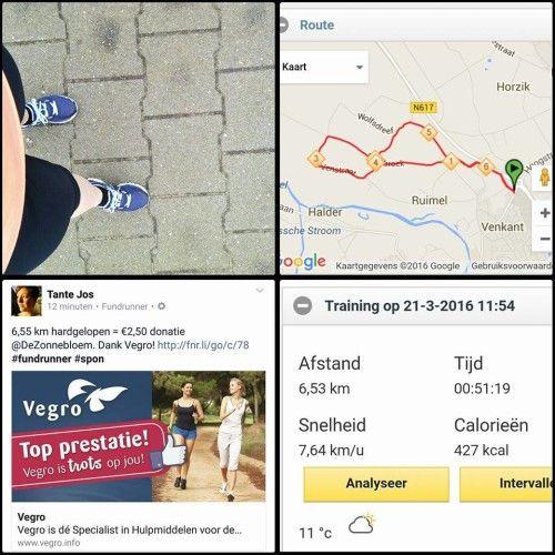 Hoe mooi is het als je met je run ook nog een leuk bedrag kunt doneren?! Tante Jos doneerde € 2.50 met haar 6.5 km run van vandaag...via de Fundrunner app.