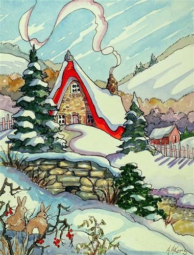 """Daily Paintworks - """"Winter Dream Storybook Cottage Series"""" - Original Fine Art for Sale - © Alida Akers"""