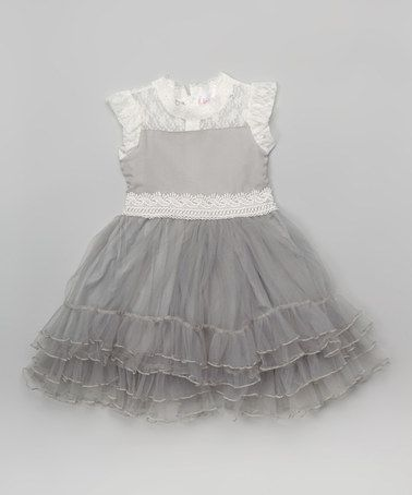 This White & Gray Angel-Sleeve Dress - Infant, Toddler & Girls by Blossom Couture is perfect! #zulilyfinds