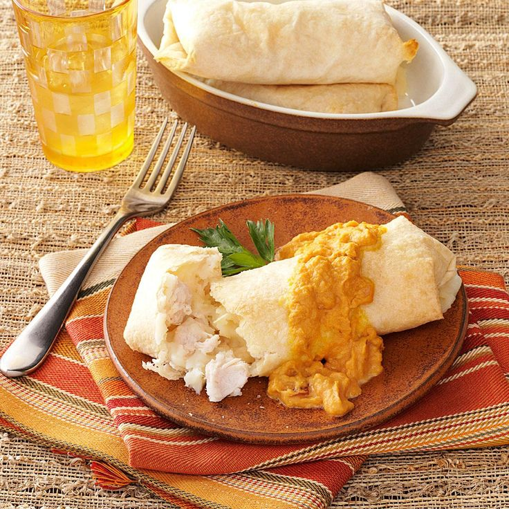 Turkey Mashed Potato Chimis Recipe -A little creative recycling will take your post-holiday morsels from boring to brilliant. A homemade sauce of pumpkin puree and chipotle peppers gives these delicious chimis a spicy-sweet finish.—Sherri Gordon, Olmsted Falls, Ohio