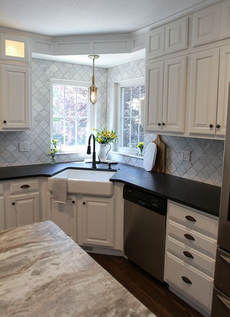 white modern farmhouse kitchen with corner apron sink | suburban bitches