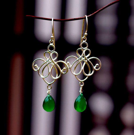 Green Onyx  bezel cut , Sterling Silver Drop earring,Holiday Jewelry Gift