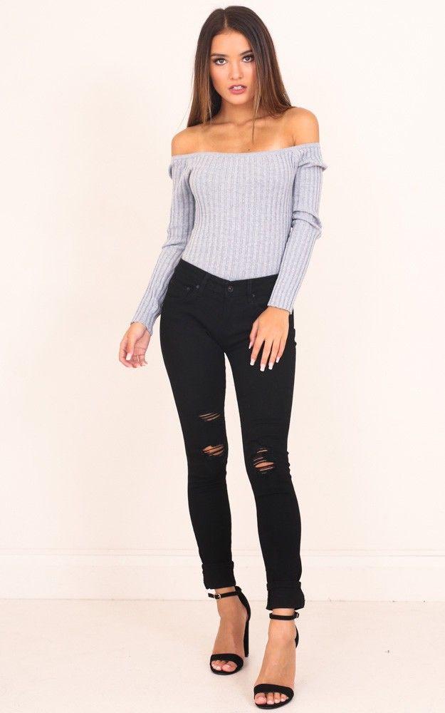 bonnie skinny jeans in black denim. showpo. black.