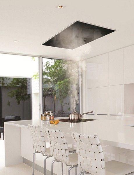 The recessed kitchen vent: Siemens ceiling hood | Corian model kitchen | Remodelista