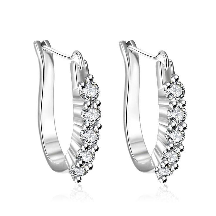 Ann & Snow Fashion Jewelry Letter U Shape aaa Cubic Zircon Geometric Silver Plated Clip Earrings For Women Classic Jewelry E312
