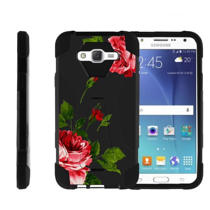 Samsung Galaxy J7 Case, Samsung J7 Hard Case [SHOCK FUSION] Hybrid Shock Resistant Silicone and Hard Exterior with Kickstand by Miniturtle® - Affectionate Roses