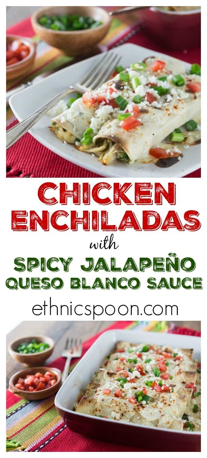 Need an easy weeknight meal? Try these easy chicken enchiladas with spicy jalapeno white queso sauce! I love spicy cheese sauce! Que rico! You can make these ahead of time and freeze. Pop it in the oven and it's ready in about 30 minutes. Bonus! | ethnics