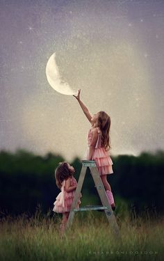 Lua, crianças, escada, ar livre