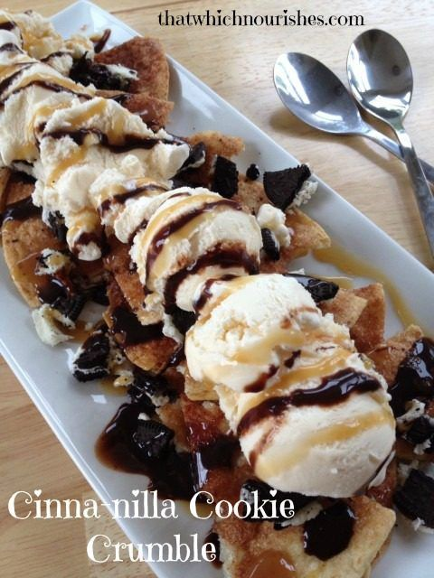 Cinna-nilla Cookie Crumble -- Cinnamon crisps, vanilla ice cream, chocolate sandwich cookies, hot fudge and caramel. This dessert comes together in minutes and can feed a crowd. | thatwhichnourishes.com