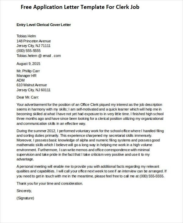 clerical job cover letter - Gese.ciceros.co