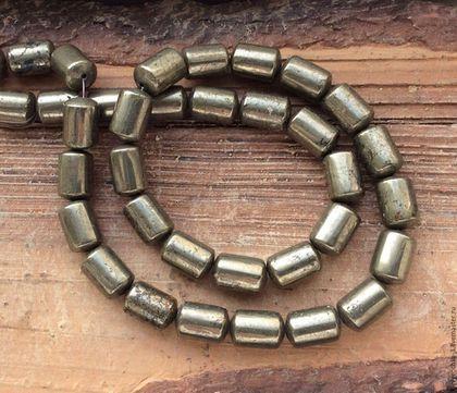 Для украшений ручной работы. Ярмарка Мастеров - ручная работа. Купить Пирит цилиндр 12 мм гладкий бусины камни для украшений. Handmade.