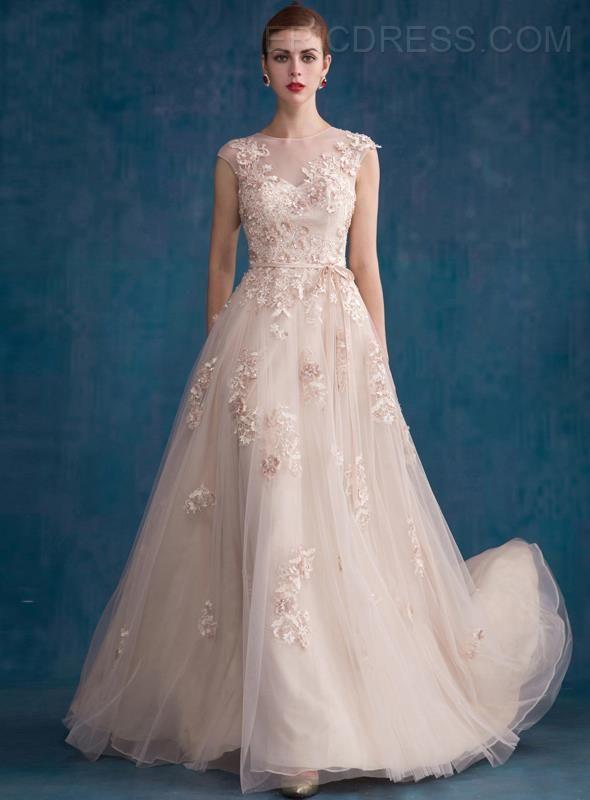 Popular Jewel Neck Sequins Appliques A Line Evening Dress Prom