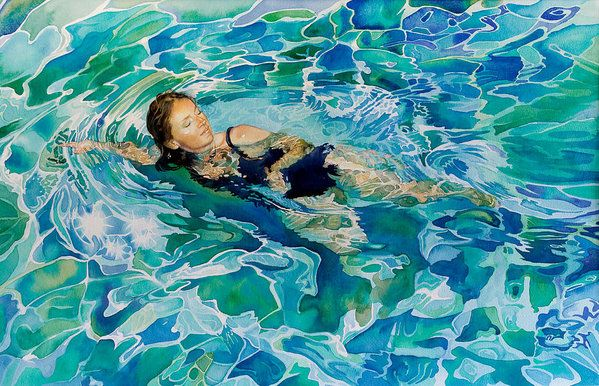 Swimmer Art Print By Gilly Marklew Painting Art Water Art