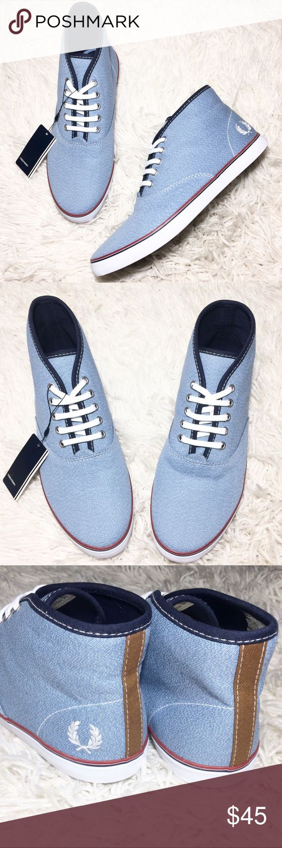 Brand NEW! Fred Perry Hightop Sneakers Size 8 Brand new Fred Perry hightop sneakers in a size 8. These lace-up sneakers are made in chambray fabric, they feature a twin tipping above the rubber soles and trademark embroidered Laurel Wreath. Fred Perry Shoes Sneakers