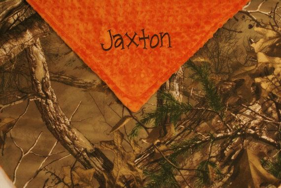 Baby Boy Blanket Real Tree Camo and Orange by WithLoveBoutiqueAL