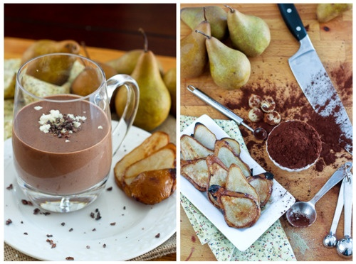 caramelized pear, chocolate and goat cheese smoothie!