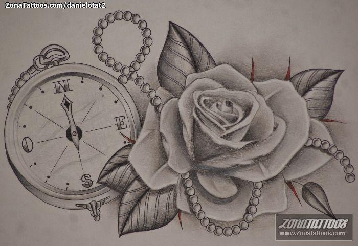 Diseño de Rosas, Flores, Brújulas   Tatuajes