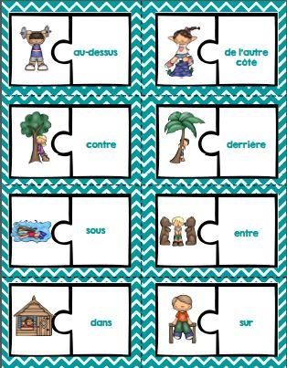 French prepositions activities and posters / Les prépositions en français