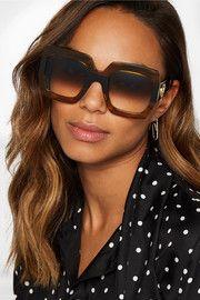 Oversized square-frame tortoiseshell acetate sunglasses