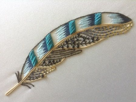 Jay Metalwork Feather ~ RSN goldwork embroidery class led by Helen Richman