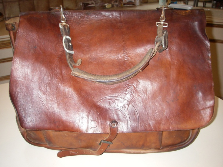 Vintage 1944 U.S. Mail Leather Bag Bona Allen Postal