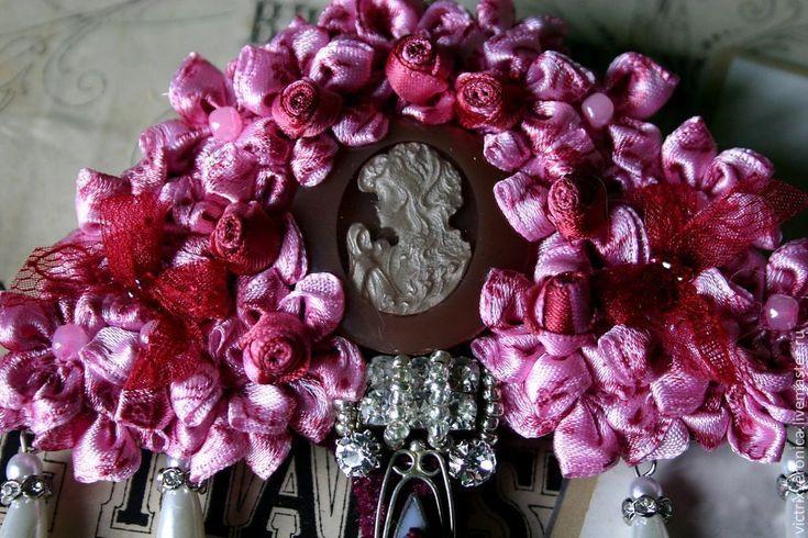 """Купить Брошь - """"Зонтик для моей Pra"""" - розовый, зонтик, зонт, брошь-зонт, розочки, цветы"""