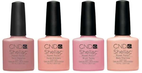 "CNDs  Shellac Fall/Winter 2013 Intimates Collection-- ""Satin Pajamas"", ""Nude Knickers"",  ""Blush Teddy"" and ""Bare Chemise"". I Love shellacs!!!!!"